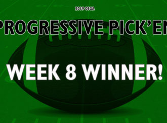 Sweep of the board earns a player $800 in Week 8 of the OSGA Progressive Pick 'Em