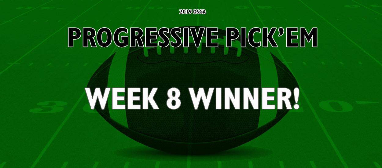 Sweep of the board earns a player $800 in Week 8 of the OSGA Progressive Pick 'Em